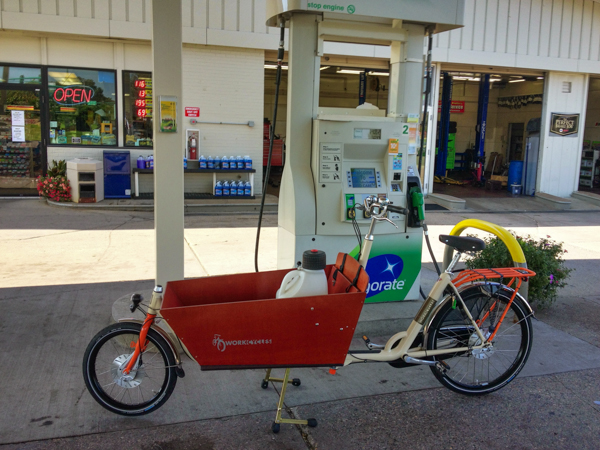 bakfiets, bicycle, gas, fuel